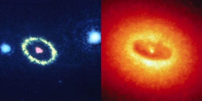 허블우주망원경이 발사된 첫 해에 찍은 1.3광년 떨어진 초신성의 중심부 사진(왼쪽). 은하 NGC4261중심부로 거대질량 블랙홀이 위치할 것으로 추측되고 있다. - NASA/ESA 제공